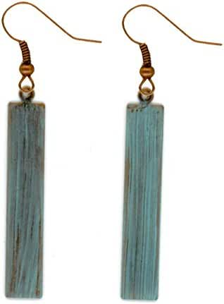 Urban Moon Copper Tone Rectangle Dangle Earrings (Turquoise Patina)