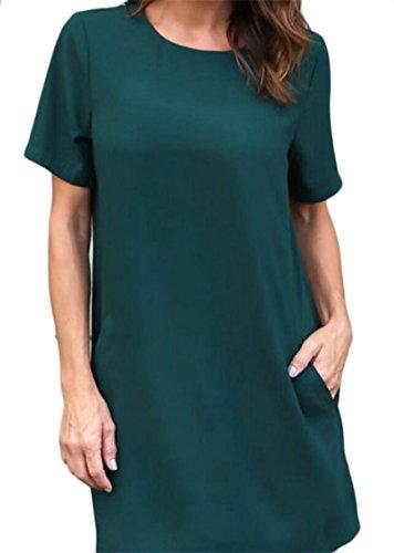 Donne Battente Le Maniche Allentate Pianura A Jaycargogo Soild Camice Vestito Delle Corte Verde xYzw54qI