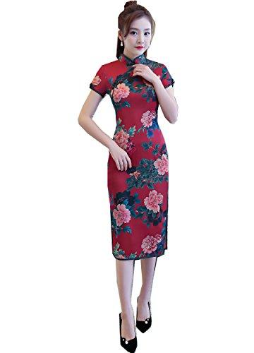 oriental flower print dress - 1
