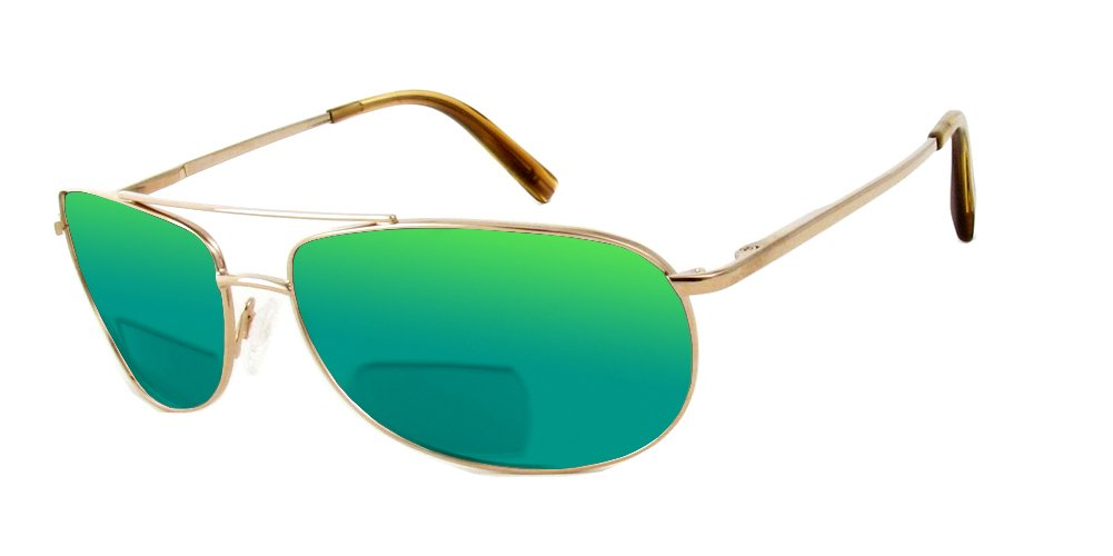 Reptile Serpent Polarized Bi-Focal Reading Sunglasses in Gold w/Green Mirror Lens +2.00 by Reptile