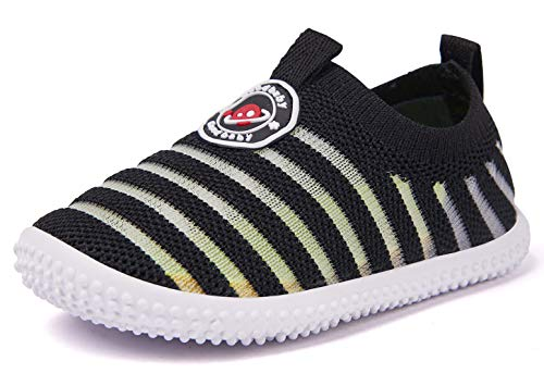 (Baby Shoes Boy Girl Infant Sneakers Flyknit Non-Slip First Walkers 6 9 12 18 24 Months Black)