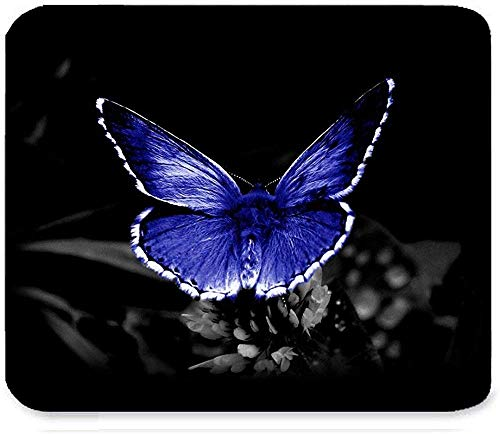 Hermoso Retro Crystal Purple Flying Butterfly y Flower Fantasy Art Pattern Design Mejor Rectangulo Personalizado Alfombrilla de raton 30 * 25 * 0.3cm Ga