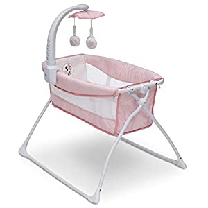 Delta Children Deluxe Activity Sleeper Bassinet for Newborns, Disney Minnie Mouse