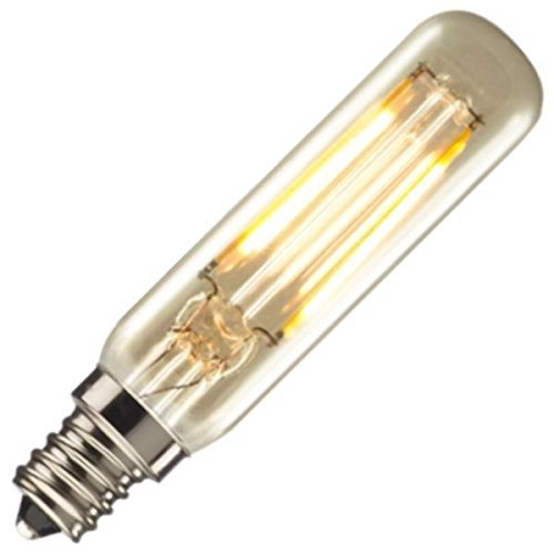25W Equivalent LED Nostalgic Mini Radio Tube Bulb with Candelabra Base, Antique Finish (2 Pack)