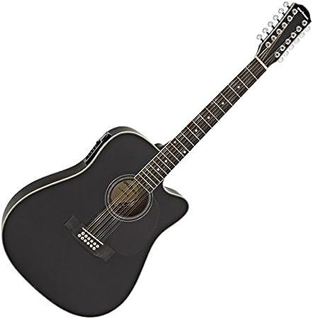 Guitarra Electroacustica Dreadnought de 12 Cuerdas de Gear4music Negro