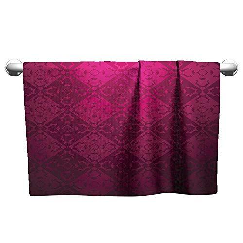 alisoso Magenta,Sport Towels Ornamental Vintage Feminine Rectangular Forms Background Damask Dated Design Bath Towels for Kids Maroon Fuchsia W 10