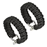 Cosmos ® 2 PCS 8″ Black Color with Stainless Steel Bow Shackle Survival Bracelet Strap with Cosmos Fastening Strap, Outdoor Stuffs
