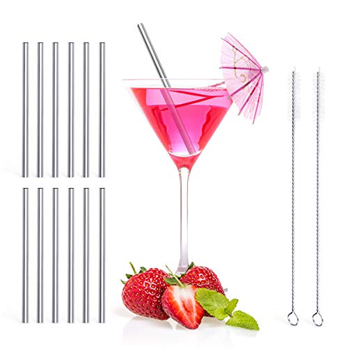 Stainless Cocktail - Teivio 12 Pack + Cleaning Brush, 5-inch Extra Short Reusable Stainless Steel Drink Straws for Cocktails, Small Glasses or Cups, and Child Use