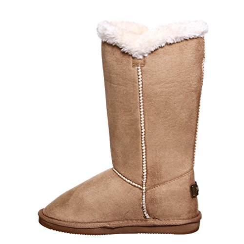 Mid Lined Warm shoewhatever Winter Microfiber Shearling Women's Boots Calf Camelice Fur xWHxEw7OnR