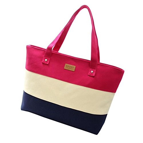 Women's Casual Canvas Tote Bags Shoulder Handbag Travel Bag Coloured Stripe Splicing (Hot Pink)