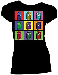 Doctor Who TARDIS Psychedelic Squares Juniors T-Shirt