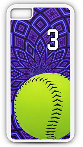 iPhone 7 Case Softball S054Z Choice of Any Personalized Name or Number Tough Phone Case by TYD Designs in White Plastic and Black Rubber with Team Jersey Number 3