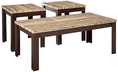 Major-Q Transitional Style Elegant Graceful 3-Pcs Faux Marble Top Cherry Finish Living Room Occasional Rectangular Coffee Square End Table Set, 9081400