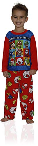 - Super Mario Brothers Boys' Little' Nintendo 2-Piece Fleece Pajama Set, Mario Punch red, 6