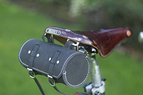 Sattel/Lenker Rolle Tasche echt Leder Schwarz für Bike Werkzeuge