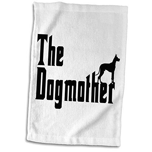 - 3dRose Carsten Reisinger - Illustrations - The Dogmother Great Dane Funny Silhouette Dog - 15x22 Hand Towel (TWL_294855_1)