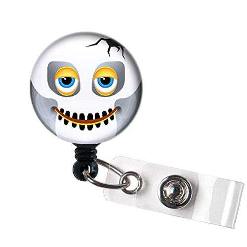 LOVEKITTY - Halloween Emoji Funny Funky Face Retractable ID Badge Reel Swivel Clip/Name Badges/ID Badge Holder/Doctor Nursing Badge/Coworker Teacher Nurse Great Gift Idea