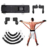 Sunsign 9-pcs Resistance Band Exercises Set for Arms and Legs Train Band Workout for Physical Therapy and Basketball Kick Boxing Training Stackable Up to 160lb Black