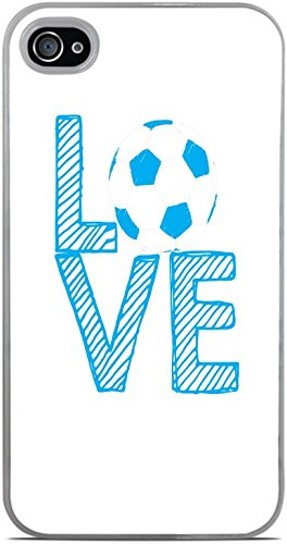 Love Soccer Stacked White with Blue Letters White Hardshell Case for iPhone 4 / 4S by Moonlight Printing