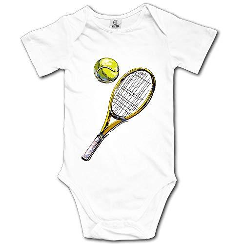 (V5DGFJH.B Baby Toddler Climbing Bodysuit Tennis Racket and Ball Infant Climbing Short-Sleeve Onesie Jumpsuit)
