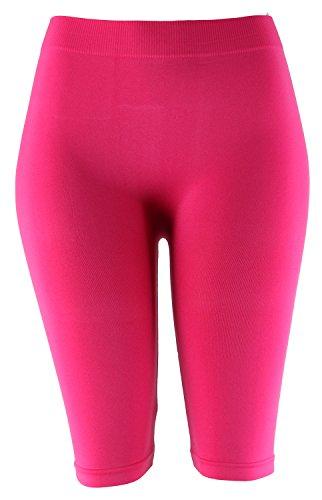 MOPAS Basic Solid Biker Knee Length Shorts Spandex Yoga Leggings (One Size, Fuchsia)