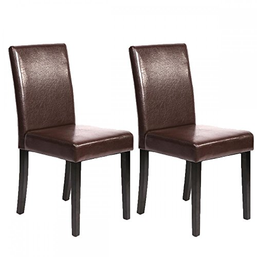 Set of 2 Leather Contemporary Elegant Design Dining Chairs Home Room