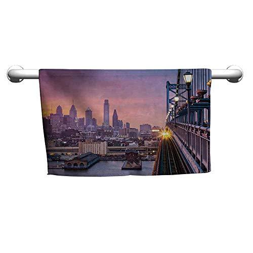 (duommhome American Soft Superfine Fiber Bath Towel Philadelphia Under a Hazy Sunset Train on Vibrant Bridge Skyscrapers Landscape W10 x L39 Purple Blue)