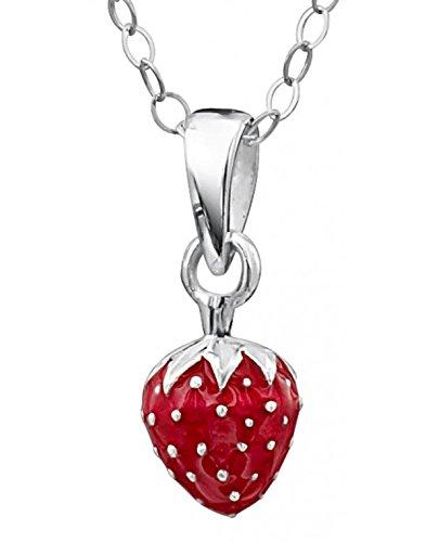 Mon-bijou Superbe collier fraise pour petite fille en argent 925//1000 DP165