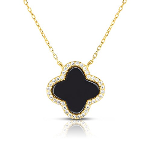 Sterling Silver Cubic Zirconia Four Leaf Clover Necklace With Adjustable Length. (14K Yellow Gold Plated) - Alhambra Pendant