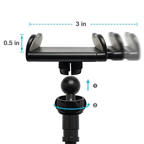 Tryone Gooseneck Phone Holder - Flexible Arm Mount Stand for iPhone Series/ Samsung Cellphones/ Google Pixel and more, 27.5in Overall Length Photo #3