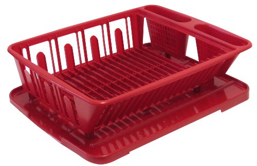 United Solutions SK0030 Two Piece Dish Rack and Drain Board Set in Red-2 Piece Large Sink Set Includes Dish Drainer and Drain board with Room for 14 Plates, 7 Small Plates/Bowls, and 8 Cups/Glasses plus Flatware