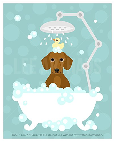 211d - Smooth Red Hair Dachshund Dog In Bubble Bath Unframed Wall Art Print By Lee Arthaus Picture