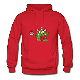 Different Popular Customized Sweatshirts Cotton Monster With 34 Year Old Birthday Cake X-large Women Red