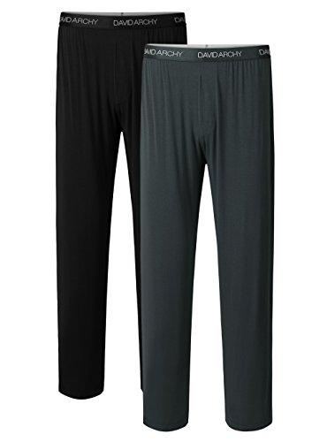(David Archy Men's 2 Pack Bamboo Long Pajamas Pants Loungewear Sleep Bottoms (L, Black+Dark Gray))