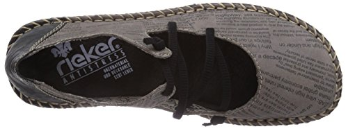 Rieker 49850 - Bailarinas de cuero para mujer gris - Grau (shark/schwarz / 40)