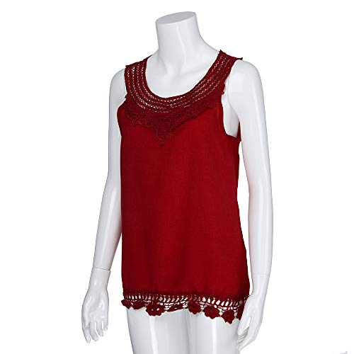 iYBUIA Women O-Neck Sleeveless Pure Color Lace Plus Size Vest Loose T-Shirt Blouse with Hollow Hem Red by iYBUIA (Image #2)