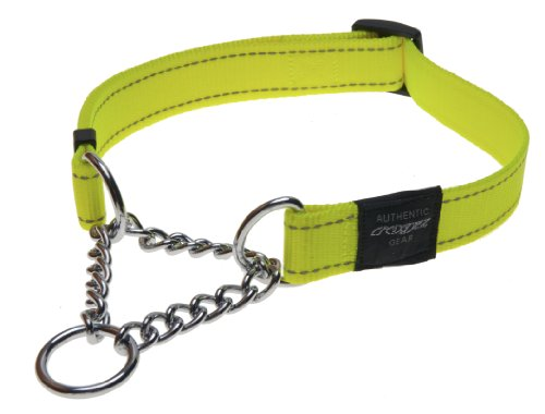 Reflective Nylon Choke Collar; Slip Show Obedience Training Gentle Choker for Large Dogs, Yellow