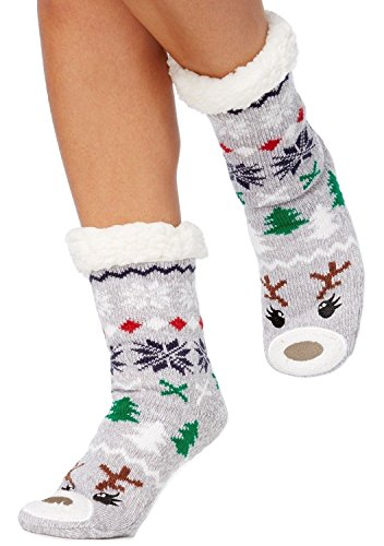 Reindeer Fleece - Charter Club Holiday Fleece Gripper Slipper Socks Gray Reindeer (L/XL)