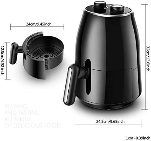 Hetelucht friteuse 1230 watt 60 minuten digitale luchtoven en olievrije kookplaat voor frituren braden bakken anti-aanbakmand 1.5L zwart