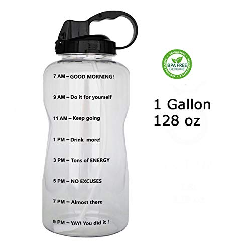 QuiFit 128oz Portable Drinking Straw Daily Water Bottle Sport Water Jug Gallon BPA Free Non Leak Design with Time Marked to Ensure You Drink Enough of Water Throughout The Day(Clear+Black) ()