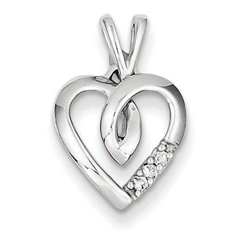 Or blanc 14 carats pendentif en forme de cœur avec diamants bruts JewelryWeb