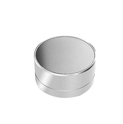 DYPP Wireless Bluetooth Speaker Card Bass Small Steel Gun Audio Phone Mini Computer Audio Outdoor Convenience Speaker(Silver)