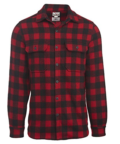 Woolrich Men's Made in the USA Wool Shirt, Red/Black, Medium