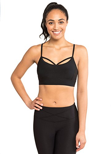 RBX Active Women's Strappy Cut & Sew Bra w/Demi Cup Black - Sew Sports Bra