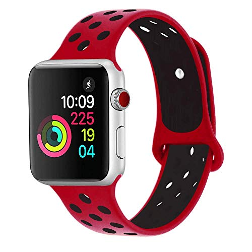 RUOQINI Compatible for Apple Watch Band 44MM, Dual-Color Soft Silicone Sport Replacement Band Compatible for Apple Watch Series 4 (S/M Size in Red/Black Color)