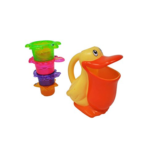 Pour Bucket & Stackable Rinse Cups Set| Cool, Funny Toddler Bath Toys for Endless Bath Fun| Sturdy, Non-Toxic, Safe Floating Bath Toys for Kids| Top Educational Bath ()