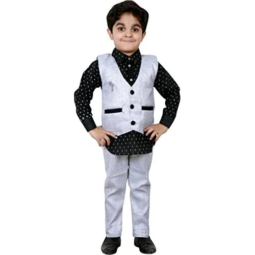 413JcTvQdwL. SS500  - AHHAAAA Boy's Cotton Waistcoat Shirt and Pant Set for Kids