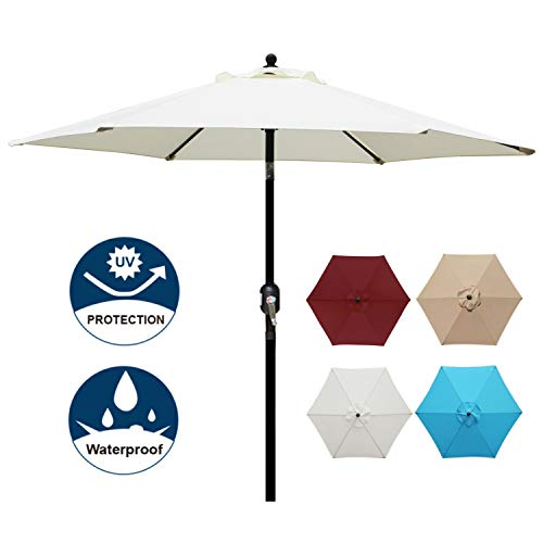 Blissun 7.5 ft Patio Umbrella, Yard Umbrella with Push Button Tilt and Crank (Beige) ()