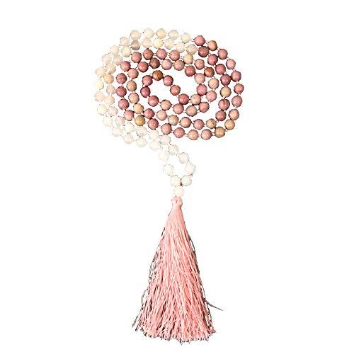 Heart Chakra Mala Pink Rhodochrosite & Rose Quartz & Pink Silk Tassel 108 Beads 8mm Hand Knotted Meditation Necklace Handmade