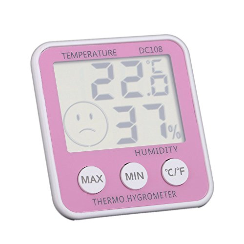 TOOGOO Higrometro calibre de temperatura digital Termometro LCD humedad de sala Fahrenheit / Celsius con marca de nivel de comolidad (amarillo): Amazon.es: ...